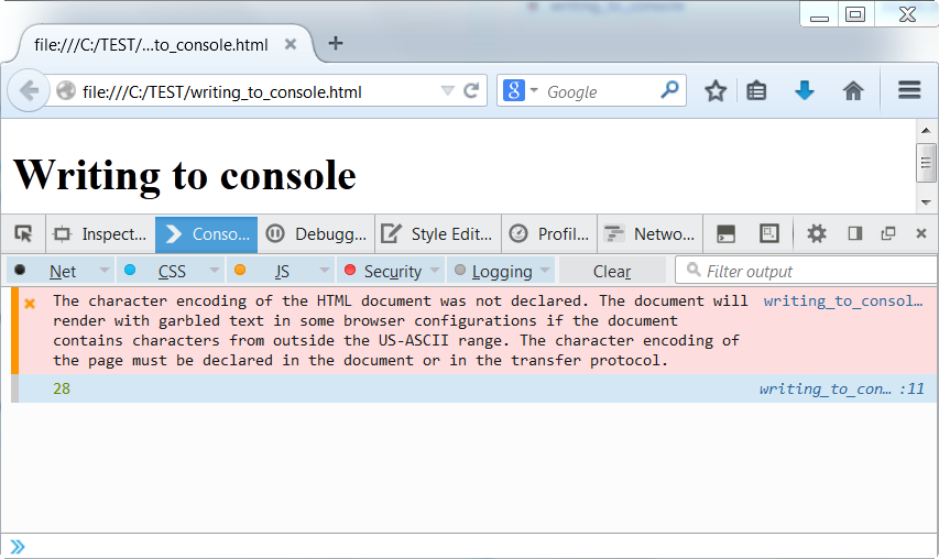 javascript write to console No third-party javascript api or console  if the page does use javascript debug,  if you don't have a console you could just as easily write your own.