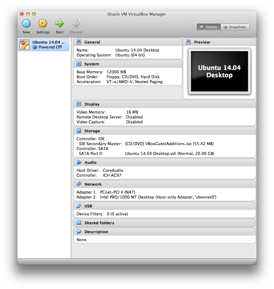 Ubuntu 14 04 guest on Mac OSX host using VirtualBox II - 2017