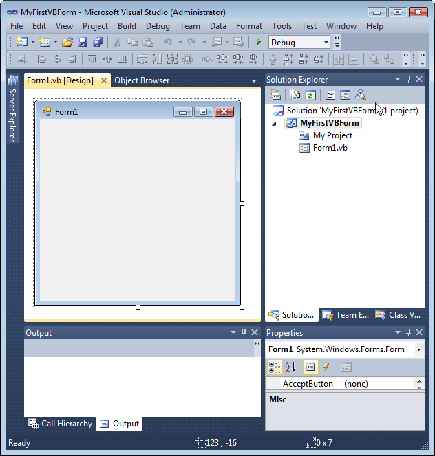 Visual basic 2010 and sql introduction 2018 now a new tabbed form designer window appears with a default form displayed and a properties window is added below the solution explorer fandeluxe Gallery