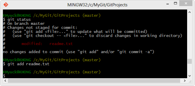 how to add a modified file in git