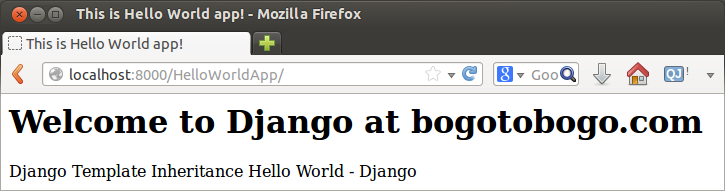 Django: Hello World Templates - 2018