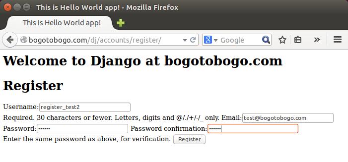 Django: Authentication (User Registration B) on Shared Host