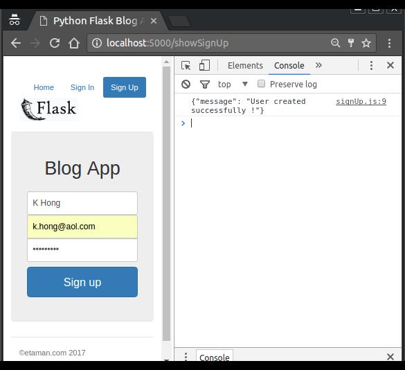 Flask blog app tutorial 1 : Signup page - 2018