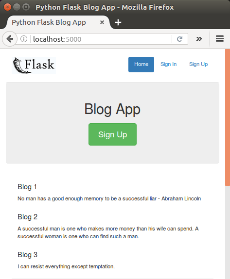 Flask blog app tutorial 2 : Sign-In / Sign-Out - 2018