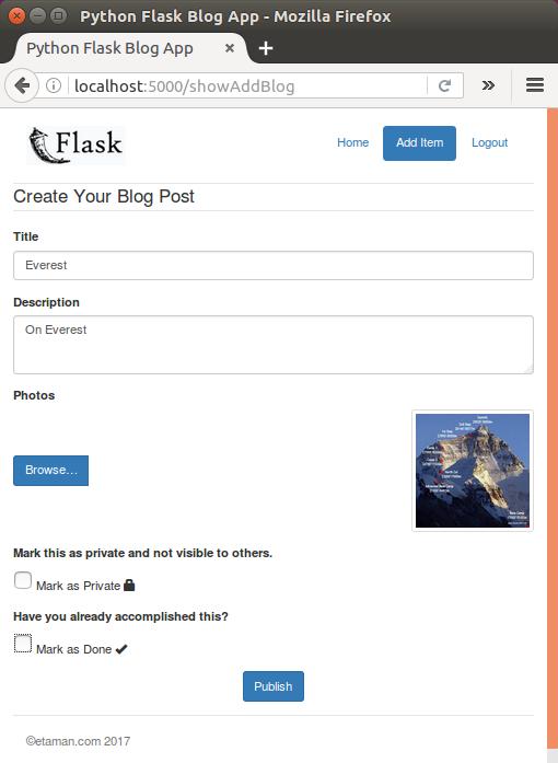 Flask blog app tutorial 5 : Uploading an image - 2018